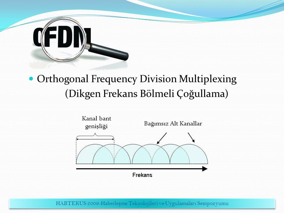 Orthogonal Frequency Division Multiplexing (Dikgen Frekans Bölmeli Çoğullama) Kanal bant genişliği Bağımsız Alt Kanallar HABTEKUS 2009-Haberle ş me Te