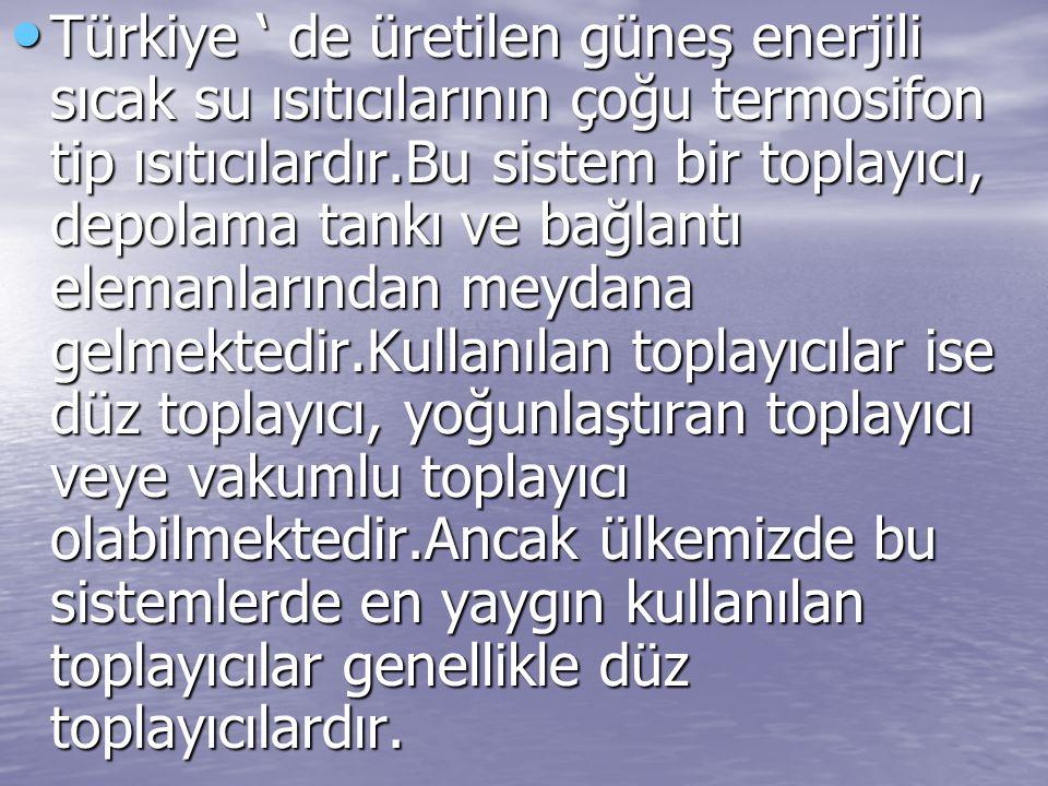 Türkiye ' de üretilen güneş enerjili sıcak su ısıtıcılarının çoğu termosifon tip ısıtıcılardır.Bu sistem bir toplayıcı, depolama tankı ve bağlantı ele