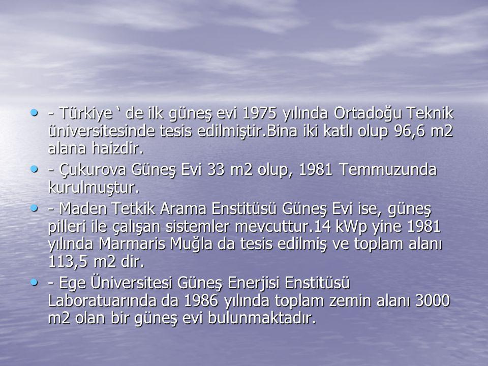 - Türkiye ' de ilk güneş evi 1975 yılında Ortadoğu Teknik üniversitesinde tesis edilmiştir.Bina iki katlı olup 96,6 m2 alana haizdir. - Türkiye ' de i