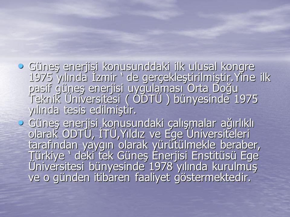 Güneş enerjisi konusunddaki ilk ulusal kongre 1975 yılında İzmir ' de gerçekleştirilmiştir.Yine ilk pasif güneş enerjisi uygulaması Orta Doğu Teknik Ü