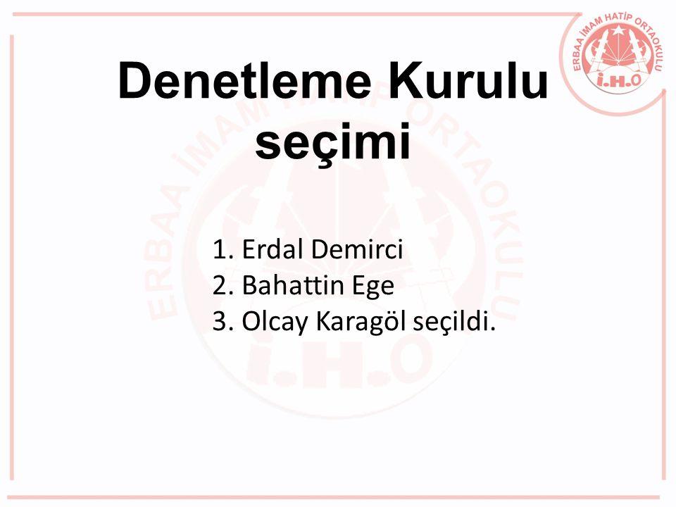 Denetleme Kurulu seçimi 1. Erdal Demirci 2. Bahattin Ege 3. Olcay Karagöl seçildi.