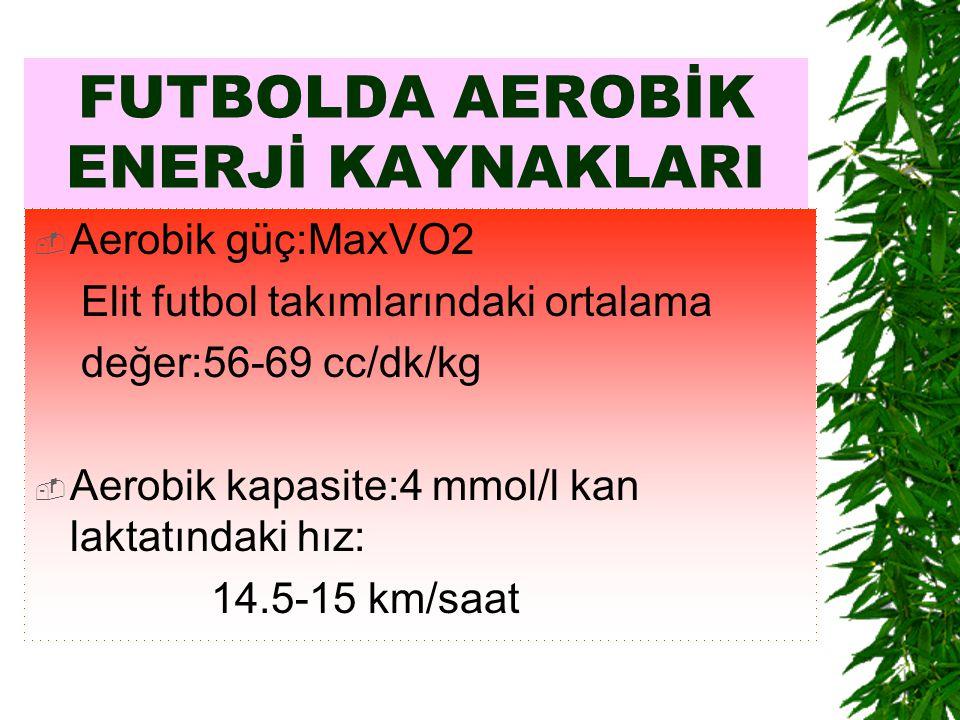 FUTBOLDA AEROBİK ENERJİ KAYNAKLARI  Aerobik güç:MaxVO2 Elit futbol takımlarındaki ortalama değer:56-69 cc/dk/kg  Aerobik kapasite:4 mmol/l kan lakta