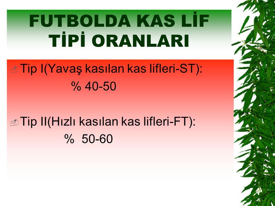 FUTBOLDA KAS LİF TİPİ ORANLARI  Tip I(Yavaş kasılan kas lifleri-ST): % 40-50  Tip II(Hızlı kasılan kas lifleri-FT): % 50-60