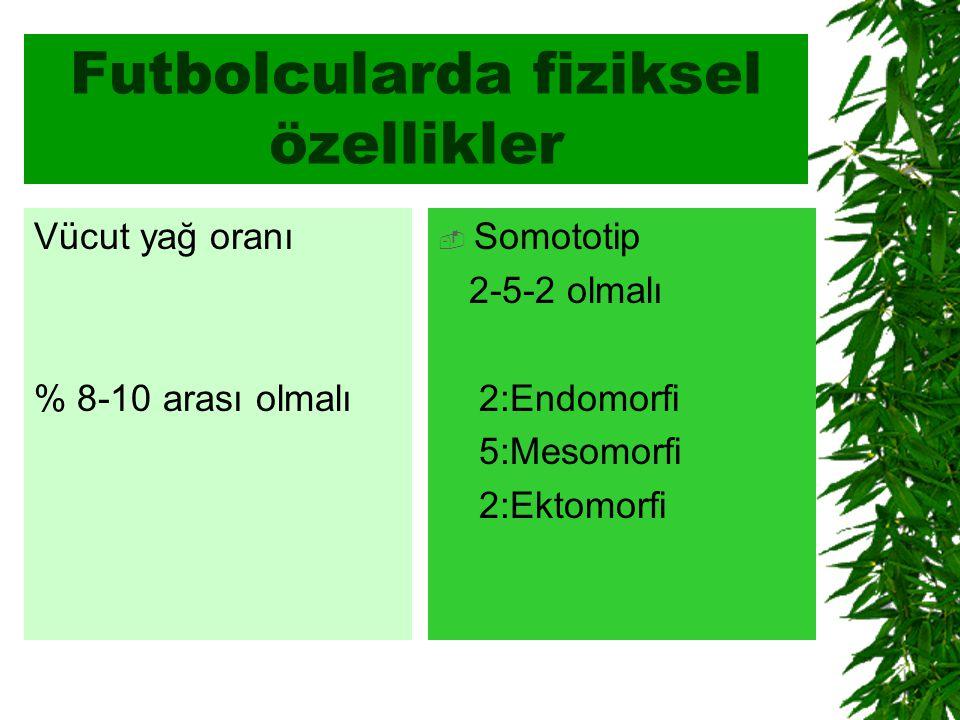 Futbolcularda fiziksel özellikler Vücut yağ oranı % 8-10 arası olmalı  Somototip 2-5-2 olmalı 2:Endomorfi 5:Mesomorfi 2:Ektomorfi