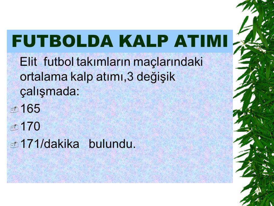 FUTBOLDA KALP ATIMI Elit futbol takımların maçlarındaki ortalama kalp atımı,3 değişik çalışmada:  165  170  171/dakika bulundu.