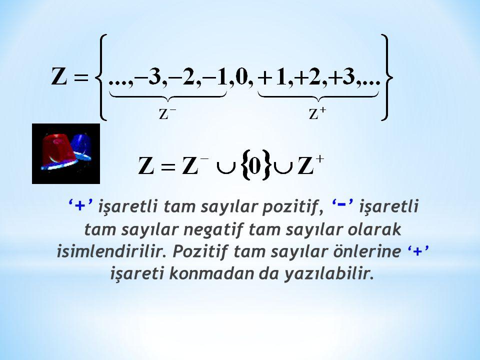 ' + ' işaretli tam sayılar pozitif, ' – ' işaretli tam sayılar negatif tam sayılar olarak isimlendirilir.