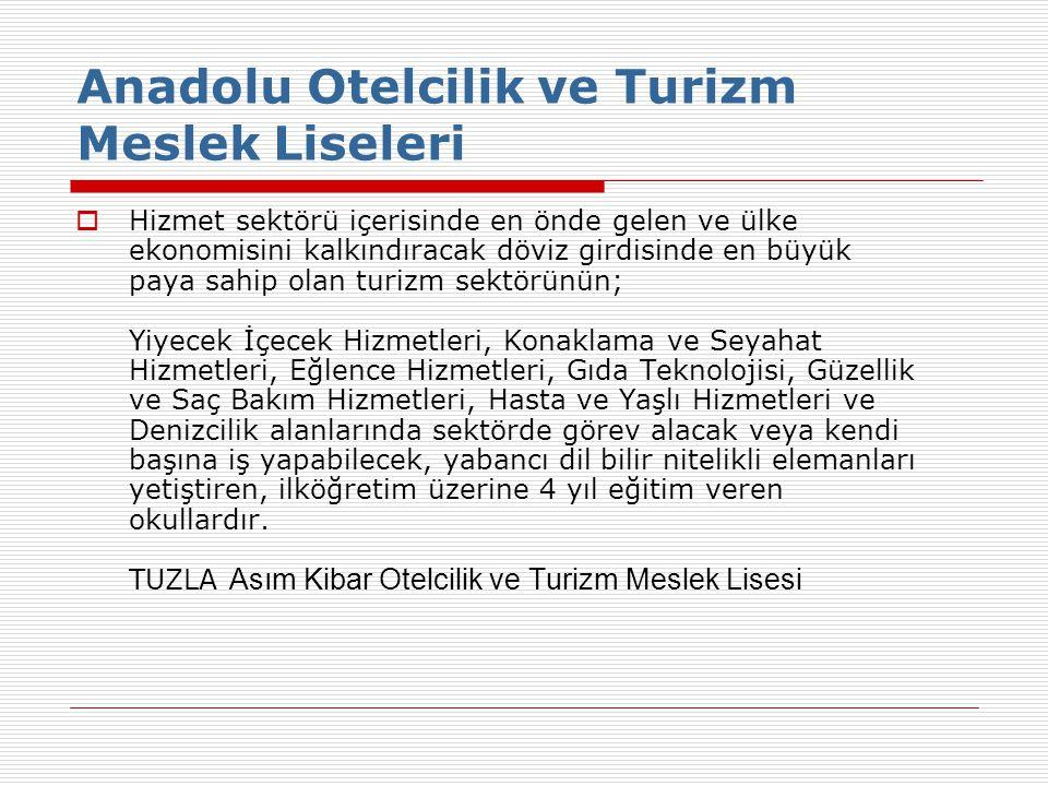 Anadolu Otelcilik ve Turizm Meslek Liseleri  Hizmet sektörü içerisinde en önde gelen ve ülke ekonomisini kalkındıracak döviz girdisinde en büyük paya