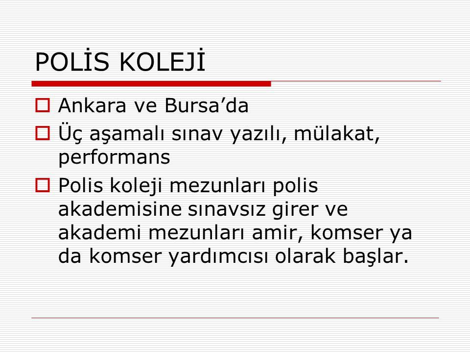 POLİS KOLEJİ  Ankara ve Bursa'da  Üç aşamalı sınav yazılı, mülakat, performans  Polis koleji mezunları polis akademisine sınavsız girer ve akademi