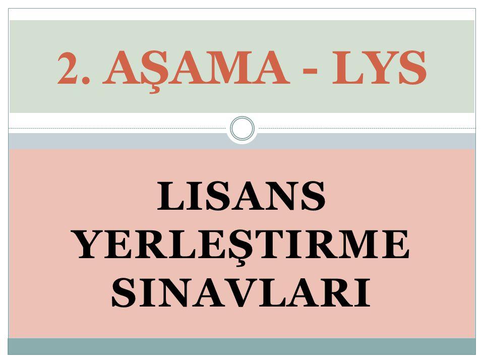 LISANS YERLEŞTIRME SINAVLARI 2. AŞAMA - LYS