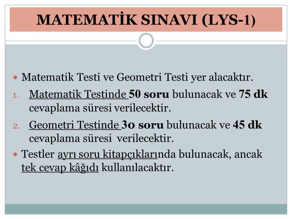 MATEMATİK SINAVI (LYS- 1) Matematik Testi ve Geometri Testi yer alacaktır. 1. Matematik Testinde 50 soru bulunacak ve 75 dk cevaplama süresi verilecek