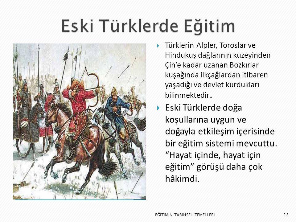 13  Türklerin Alpler, Toroslar ve Hindukuş dağlarının kuzeyinden Çin'e kadar uzanan Bozkırlar kuşağında ilkçağlardan itibaren yaşadığı ve devlet kurd