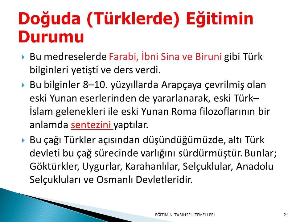 24  Bu medreselerde Farabi, İbni Sina ve Biruni gibi Türk bilginleri yetişti ve ders verdi.  Bu bilginler 8–10. yüzyıllarda Arapçaya çevrilmiş olan