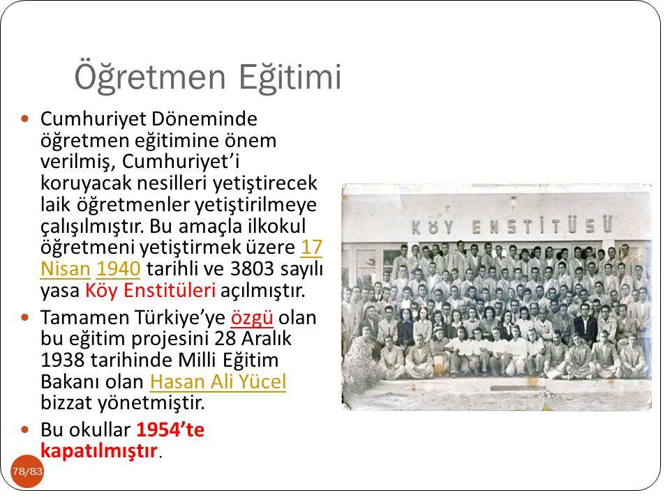 78/83 Öğretmen Eğitimi Cumhuriyet Döneminde öğretmen eğitimine önem verilmiş, Cumhuriyet'i koruyacak nesilleri yetiştirecek laik öğretmenler yetiştiri