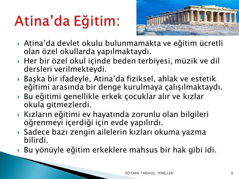 8  Atina'da devlet okulu bulunmamakta ve eğitim ücretli olan özel okullarda yapılmaktaydı.  Her bir özel okul içinde beden terbiyesi, müzik ve dil d