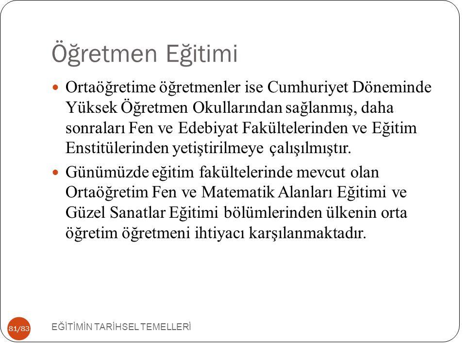 81/83 Öğretmen Eğitimi EĞİTİMİN TARİHSEL TEMELLERİ Ortaöğretime öğretmenler ise Cumhuriyet Döneminde Yüksek Öğretmen Okullarından sağlanmış, daha sonr