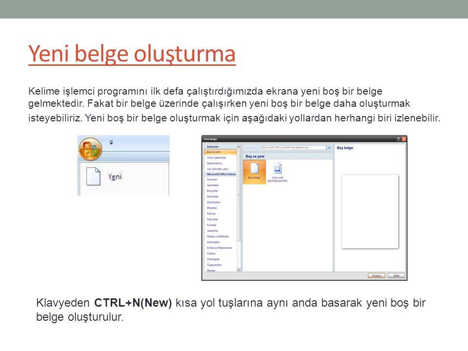 Yeni belge oluşturma Kelime işlemci programını ilk defa çalıştırdığımızda ekrana yeni boş bir belge gelmektedir.