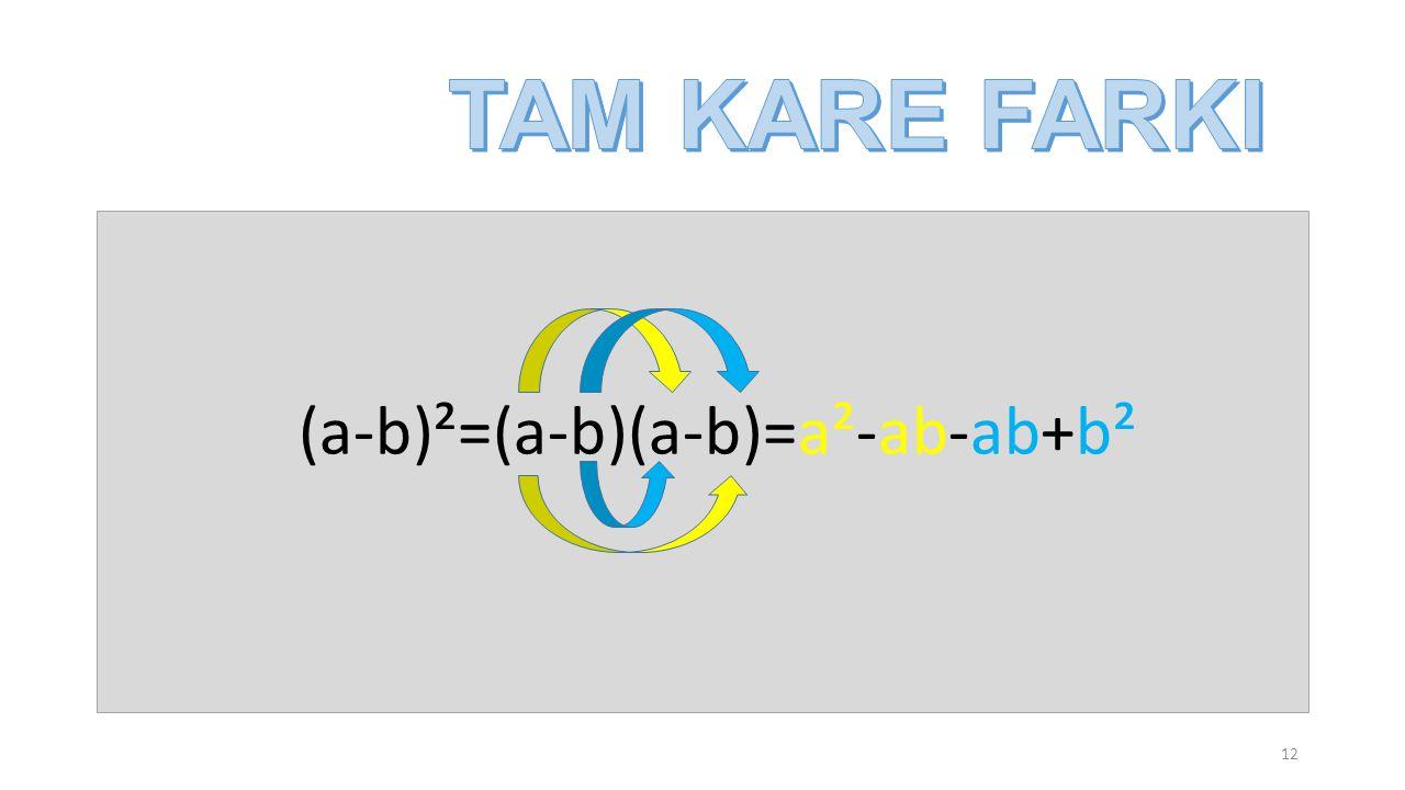 (a-b)²=(a-b)(a-b)=a²-ab-ab+b² 12