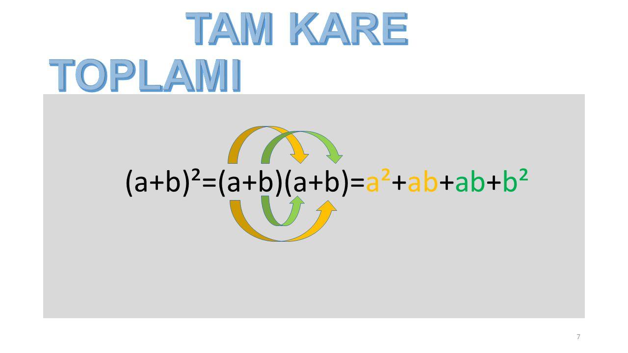 (a+b)²=(a+b)(a+b)=a²+ab+ab+b² 7