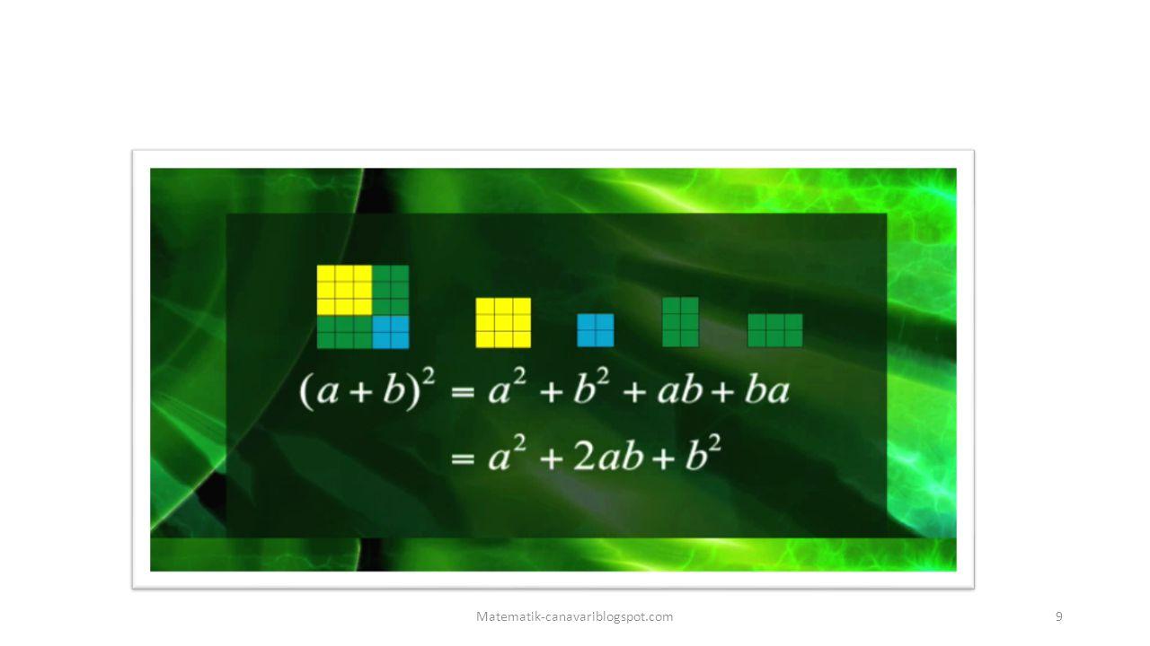 Örnekler (20+12)²=20²+2.20.12+12²=400+480+144=1024 (16+10)²=16²+2.10.16+10²=256+320+100=676 (9+10)²=9²+2.9.10+10²=81+180+100=361 10