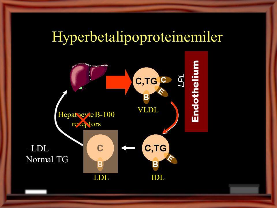 Hyperbetalipoproteinemiler C,TG B VLDL Endothelium LPL C,TG B E IDLLDL E C C B Hepatocyte B-100 receptors  LDL Normal TG