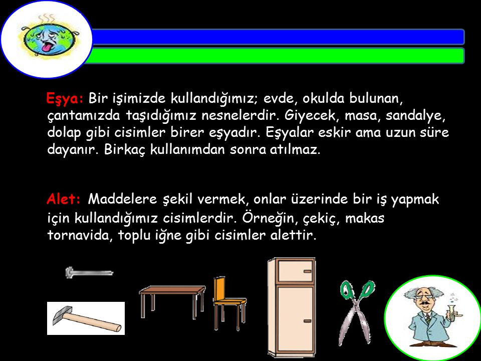 Eşya: Bir işimizde kullandığımız; evde, okulda bulunan, çantamızda taşıdığımız nesnelerdir. Giyecek, masa, sandalye, dolap gibi cisimler birer eşyadır
