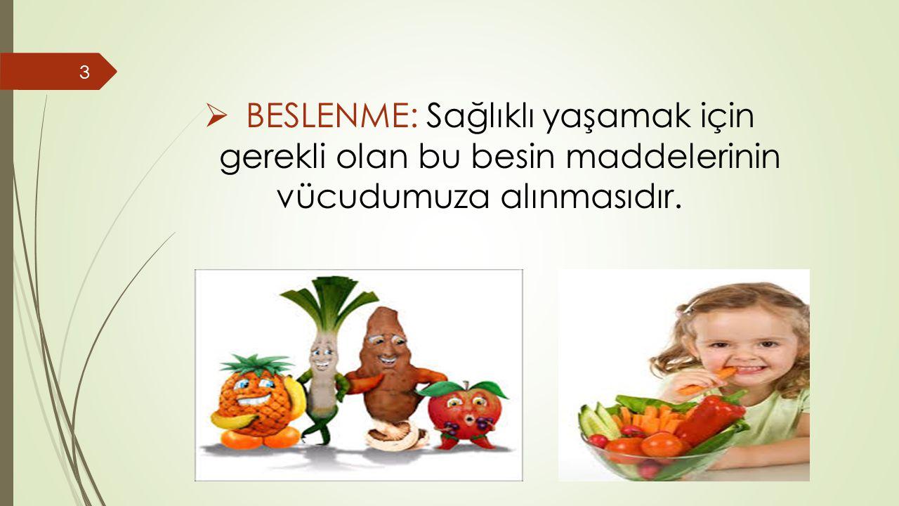  BESLENME: Sağlıklı yaşamak için gerekli olan bu besin maddelerinin vücudumuza alınmasıdır. 3