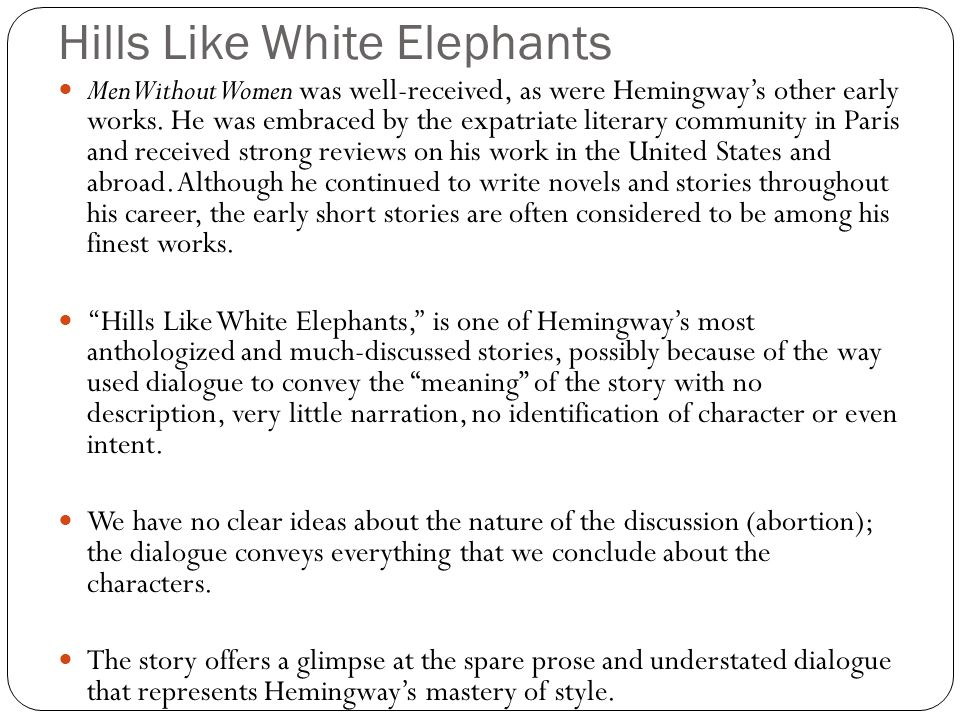 women in hills like white elephants essay