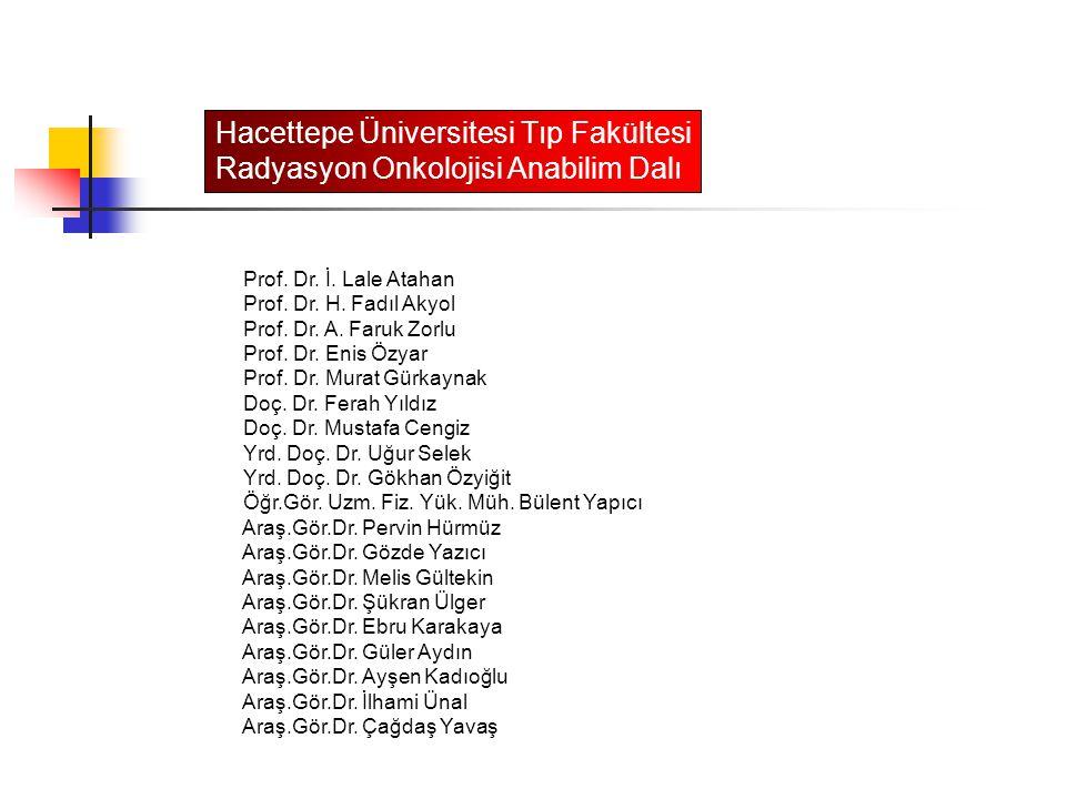 Prof. Dr. İ. Lale Atahan Prof. Dr. H. Fadıl Akyol Prof. Dr. A. Faruk Zorlu Prof. Dr. Enis Özyar Prof. Dr. Murat Gürkaynak Doç. Dr. Ferah Yıldız Doç. D