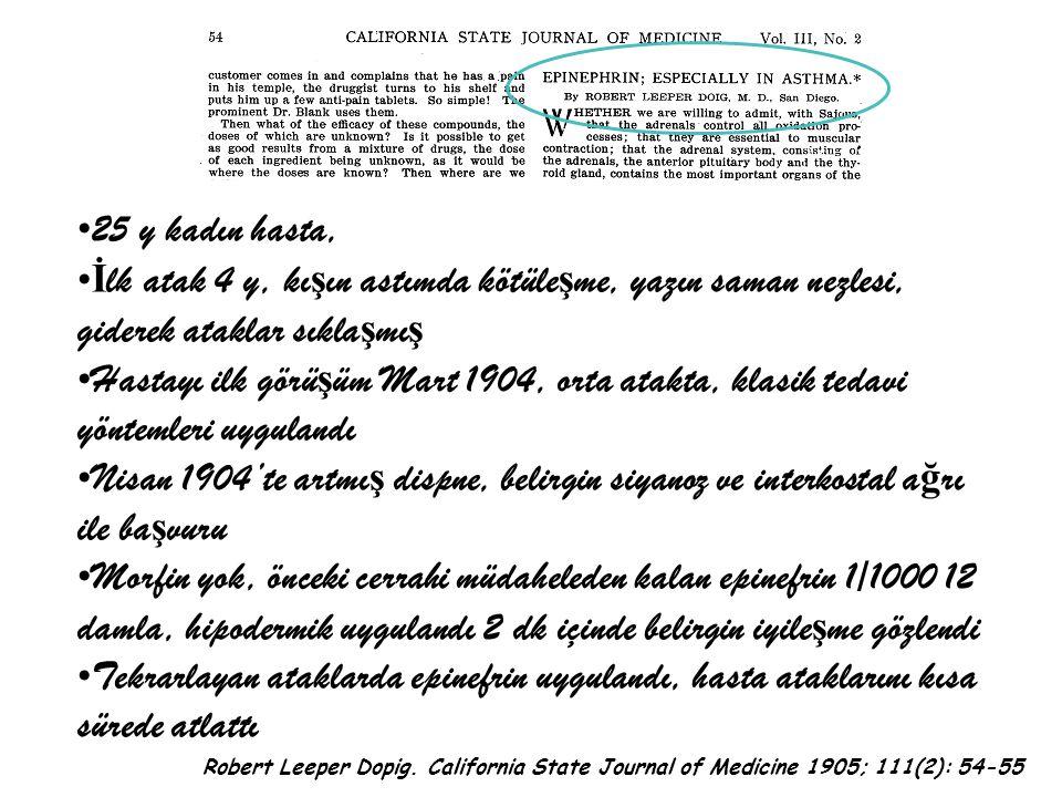 25 y kadın hasta, İ lk atak 4 y, kı ş ın astımda kötüle ş me, yazın saman nezlesi, giderek ataklar sıkla ş mı ş Hastayı ilk görü ş üm Mart 1904, orta