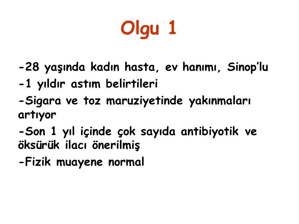 Olgu 1 -28 yaşında kadın hasta, ev hanımı, Sinop'lu -1 yıldır astım belirtileri -Sigara ve toz maruziyetinde yakınmaları artıyor -Son 1 yıl içinde çok