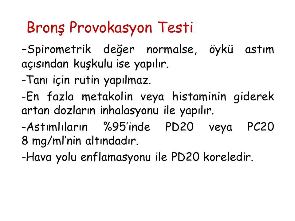 Bronş Provokasyon Testi - Spirometrik değer normalse, öykü astım açısından kuşkulu ise yapılır. -Tanı için rutin yapılmaz. -En fazla metakolin veya hi