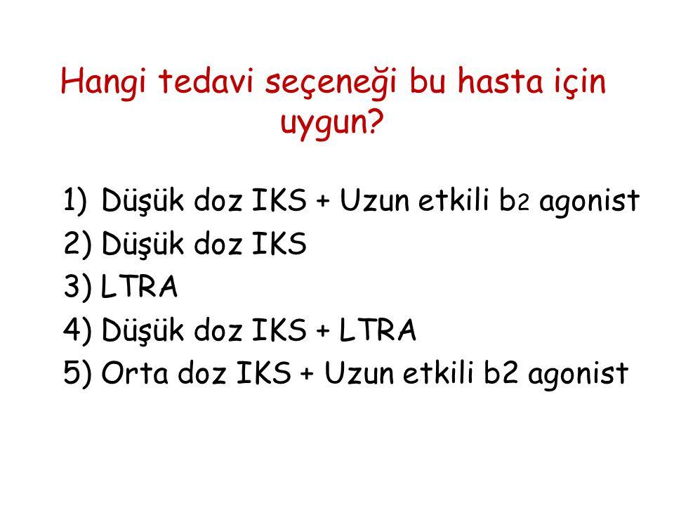 Hangi tedavi seçeneği bu hasta için uygun? 1)Düşük doz IKS + Uzun etkili b 2 agonist 2)Düşük doz IKS 3)LTRA 4)Düşük doz IKS + LTRA 5)Orta doz IKS + Uz