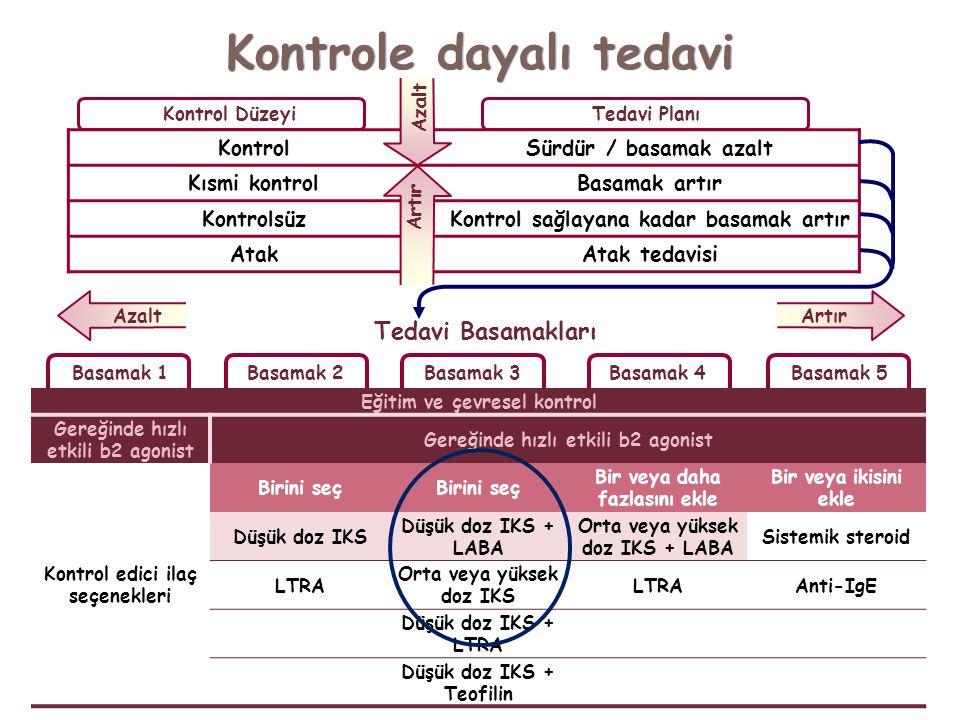 Kontrole dayalı tedavi Eğitim ve çevresel kontrol Gereğinde hızlı etkili b2 agonist Kontrol edici ilaç seçenekleri Birini seç Bir veya daha fazlasını