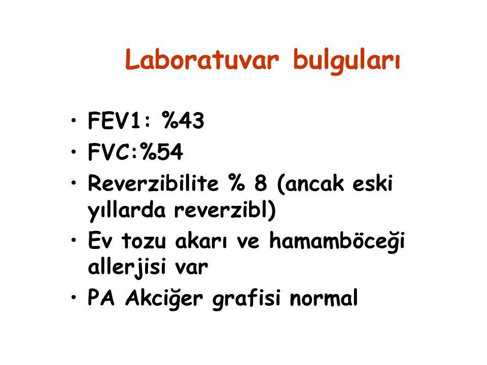Laboratuvar bulguları FEV1: %43 FVC:%54 Reverzibilite % 8 (ancak eski yıllarda reverzibl) Ev tozu akarı ve hamamböceği allerjisi var PA Akciğer grafis