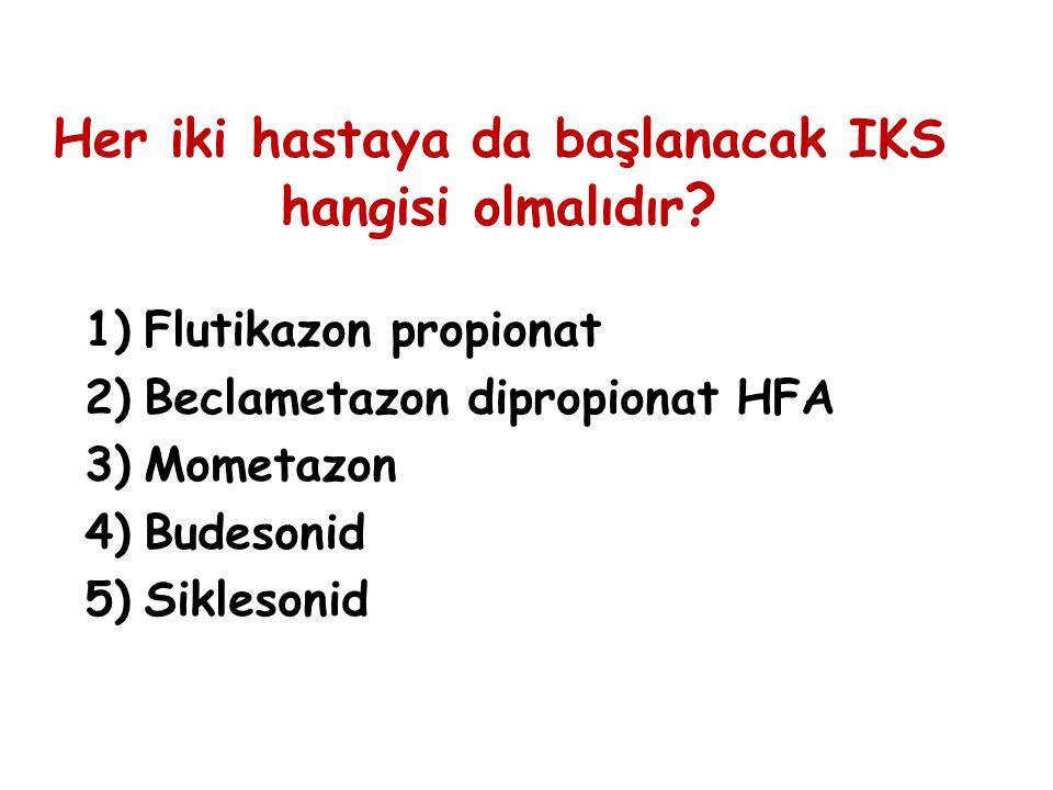Her iki hastaya da başlanacak IKS hangisi olmalıdır ? 1)Flutikazon propionat 2)Beclametazon dipropionat HFA 3)Mometazon 4)Budesonid 5)Siklesonid