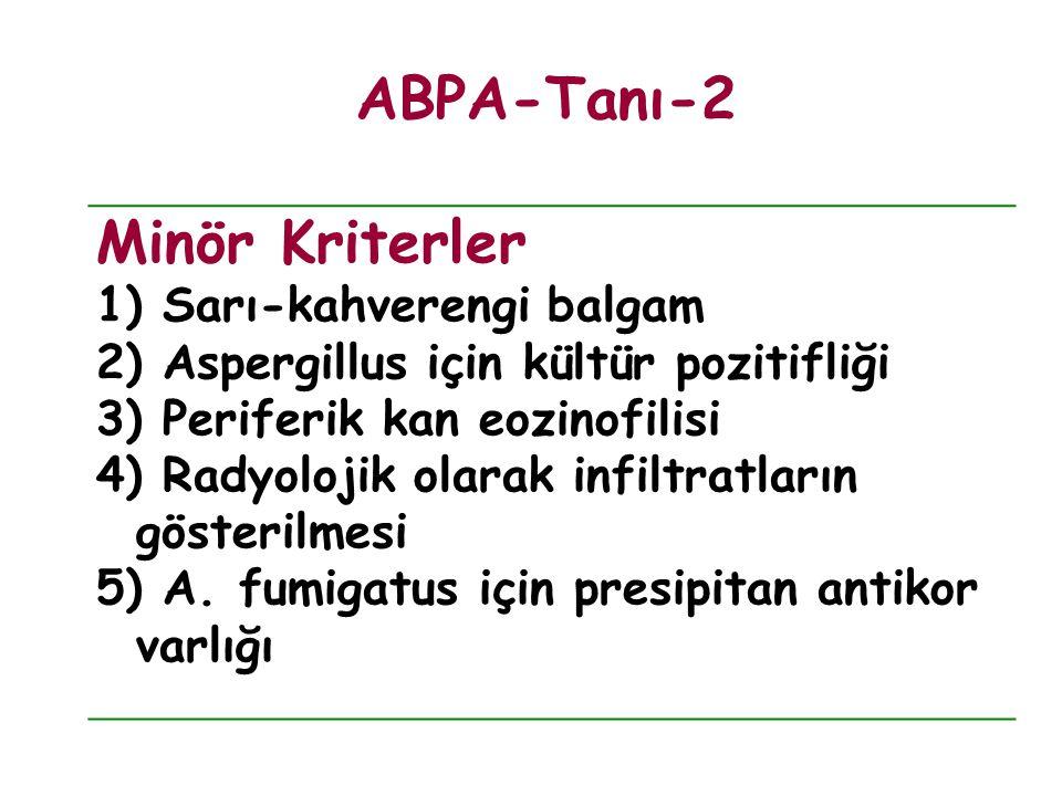 Minör Kriterler 1) Sarı-kahverengi balgam 2) Aspergillus için kültür pozitifliği 3) Periferik kan eozinofilisi 4) Radyolojik olarak infiltratların gös
