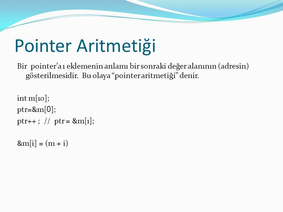 Pointer - Örnek #include int a, *b; void main() { clrscr(); printf( Sayi gir: ); scanf( %d , &a); b=&a; printf( b= %d\n , b); printf( b adres - &b= %d\n , &b); printf( b içerik - *p = %d\n , *b); printf( a= %d\n , a); printf( adres a - &a= %d\n , &a); getch(); }
