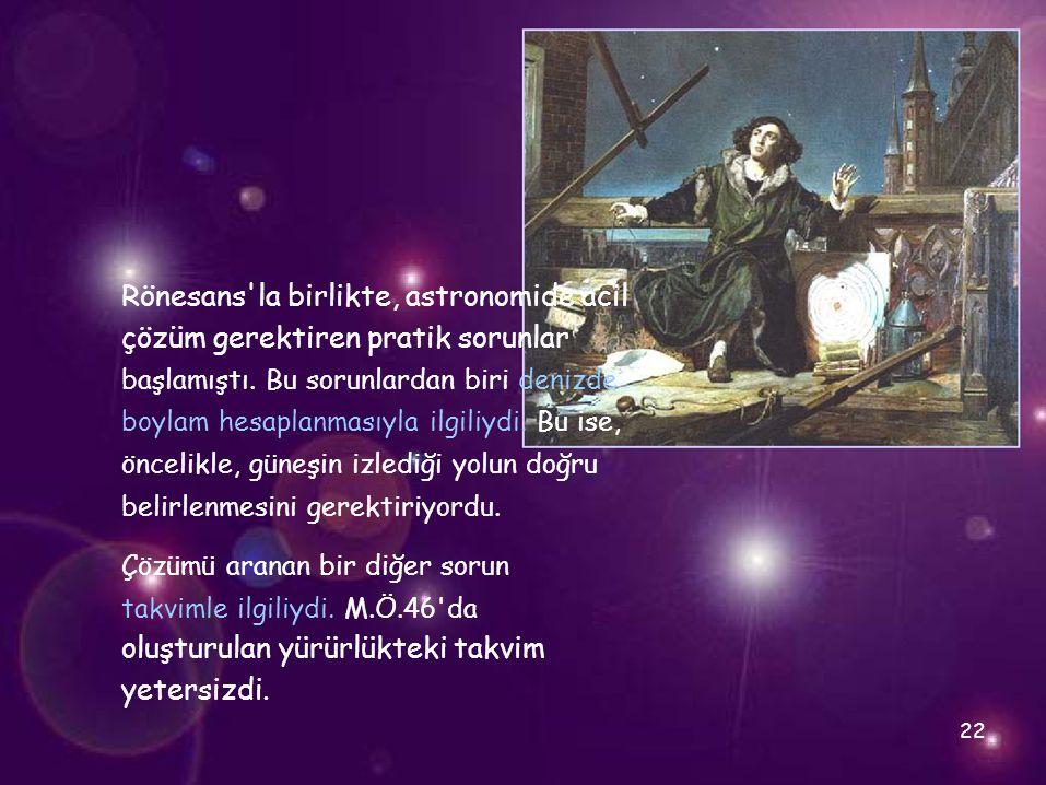 Rönesans'la birlikte, astronomide acil çözüm gerektiren pratik sorunlar başlamıştı. Bu sorunlardan biri denizde boylam hesaplanmasıyla ilgiliydi. Bu i