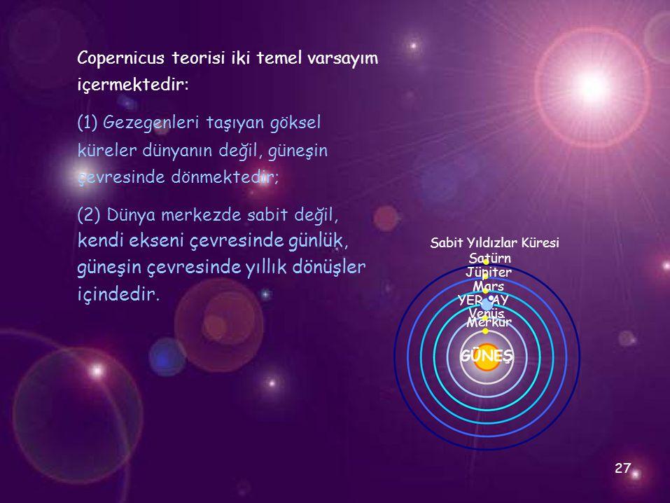 Venüs Copernicus teorisi iki temel varsayım içermektedir: (1) Gezegenleri taşıyan göksel küreler dünyanın değil, güneşin çevresinde dönmektedir; (2) D