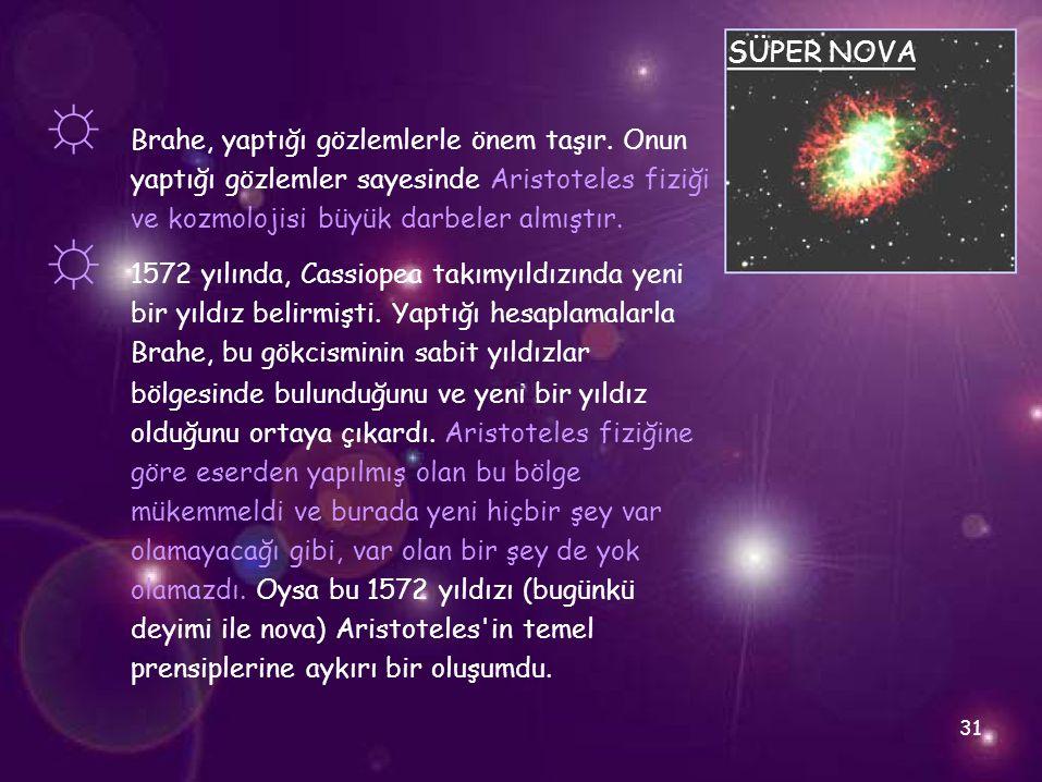 ☼ ☼ SÜPER NOVA Brahe, yaptığı gözlemlerle önem taşır. Onun yaptığı gözlemler sayesinde Aristoteles fiziği ve kozmolojisi büyük darbeler almıştır. 1572
