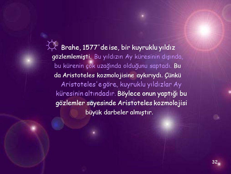 ☼ Brahe, 1577'de ise, bir kuyruklu yıldız gözlemlemişti. Bu yıldızın Ay küresinin dışında, bu kürenin çok uzağında olduğunu saptadı. Bu da Aristoteles