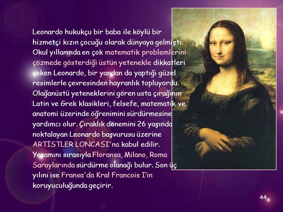 Leonardo hukukçu bir baba ile köylü bir hizmetçi kızın çocuğu olarak dünyaya gelmişti. Okul yıllarında en çok matematik problemlerini çözmede gösterdi