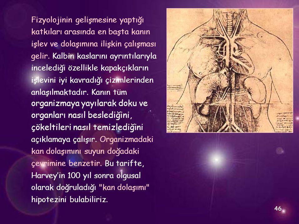 Fizyolojinin gelişmesine yaptığı katkıları arasında en başta kanın işlev ve dolaşımına ilişkin çalışması gelir. Kalbin kaslarını ayrıntılarıyla incele