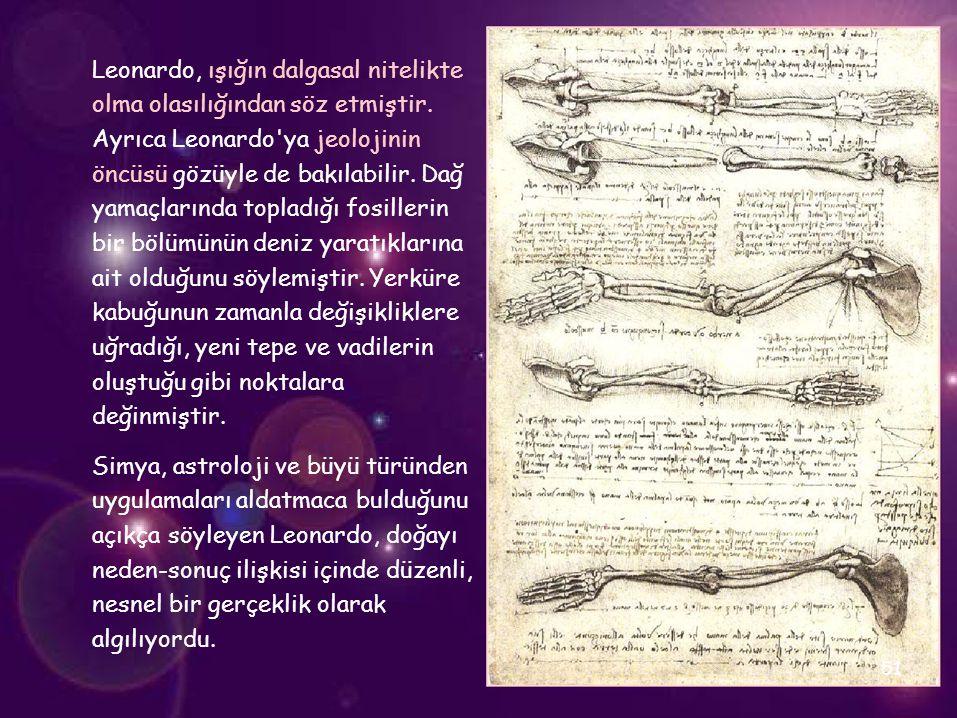 Leonardo, ışığın dalgasal nitelikte olma olasılığından söz etmiştir. Ayrıca Leonardo'ya jeolojinin öncüsü gözüyle de bakılabilir. Dağ yamaçlarında top