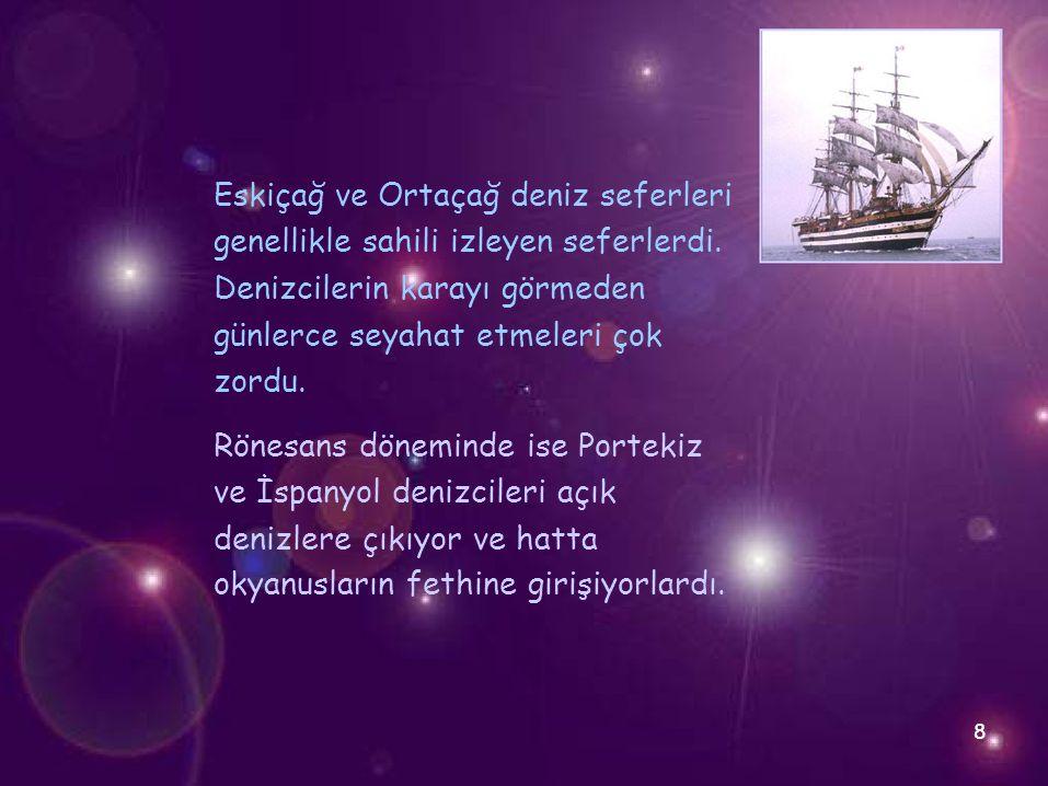 Eskiçağ ve Ortaçağ deniz seferleri genellikle sahili izleyen seferlerdi. Denizcilerin karayı görmeden günlerce seyahat etmeleri çok zordu. Rönesans dö