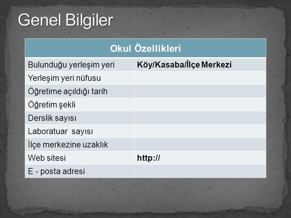Okul Özellikleri Bulunduğu yerleşim yeriKöy/Kasaba/İlçe Merkezi Yerleşim yeri nüfusu Öğretime açıldığı tarih Öğretim şekli Derslik sayısı Laboratuar s