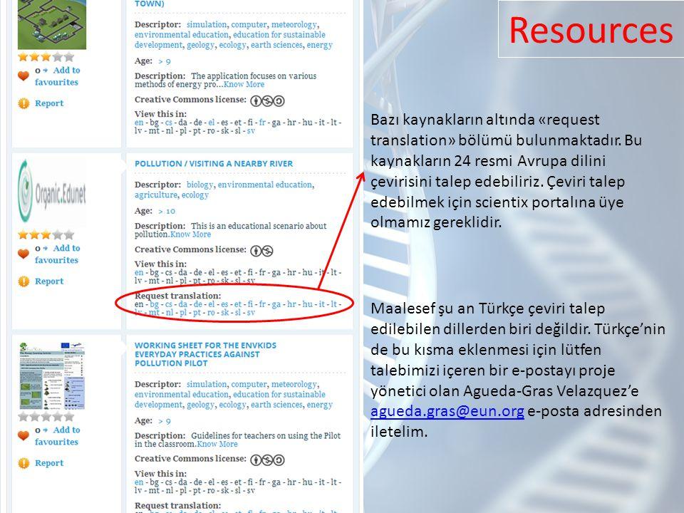 Bazı kaynakların altında «request translation» bölümü bulunmaktadır.