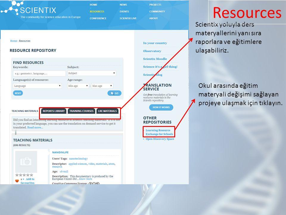Scientix yoluyla ders materyallerini yanı sıra raporlara ve eğitimlere ulaşabiliriz.