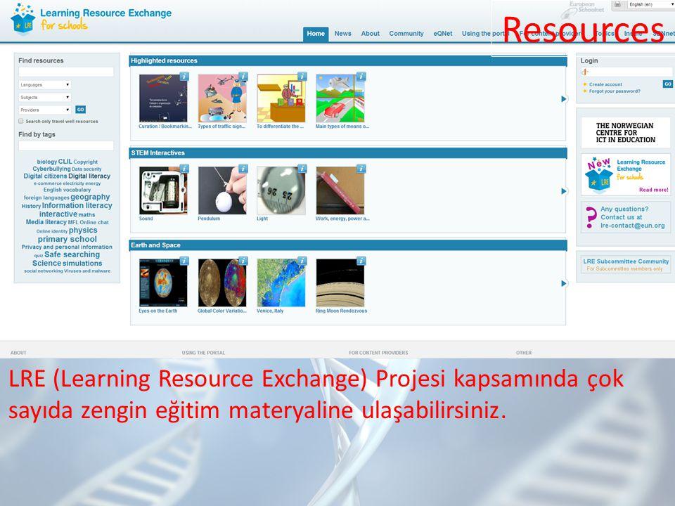LRE (Learning Resource Exchange) Projesi kapsamında çok sayıda zengin eğitim materyaline ulaşabilirsiniz.