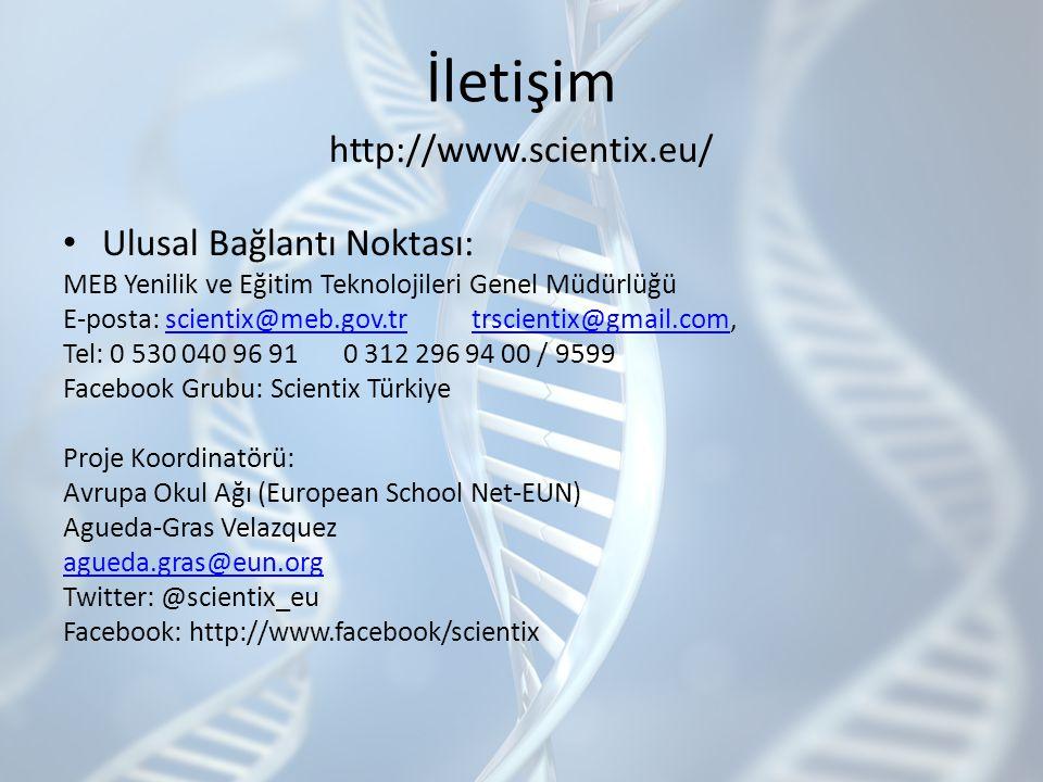 İletişim http://www.scientix.eu/ Ulusal Bağlantı Noktası: MEB Yenilik ve Eğitim Teknolojileri Genel Müdürlüğü E-posta: scientix@meb.gov.tr trscientix@gmail.com,scientix@meb.gov.trtrscientix@gmail.com Tel: 0 530 040 96 91 0 312 296 94 00 / 9599 Facebook Grubu: Scientix Türkiye Proje Koordinatörü: Avrupa Okul Ağı (European School Net-EUN) Agueda-Gras Velazquez agueda.gras@eun.org Twitter: @scientix_eu Facebook: http://www.facebook/scientix